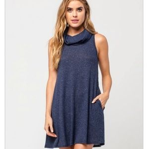 Socialite Sleeveless Cowl Neck Sweater Dress Blue